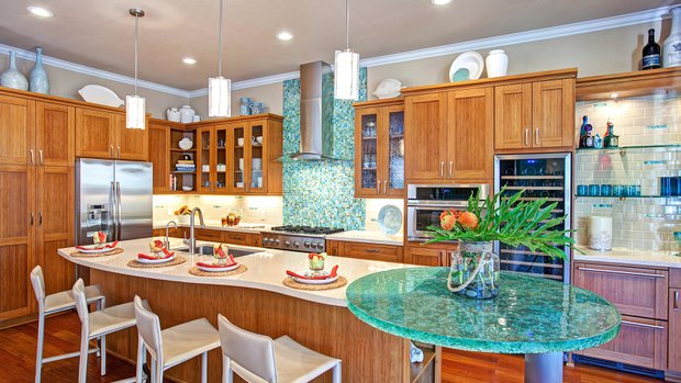 Featured: Hand-crafted glass table, bamboo cabinetry and a wine refrigerator
