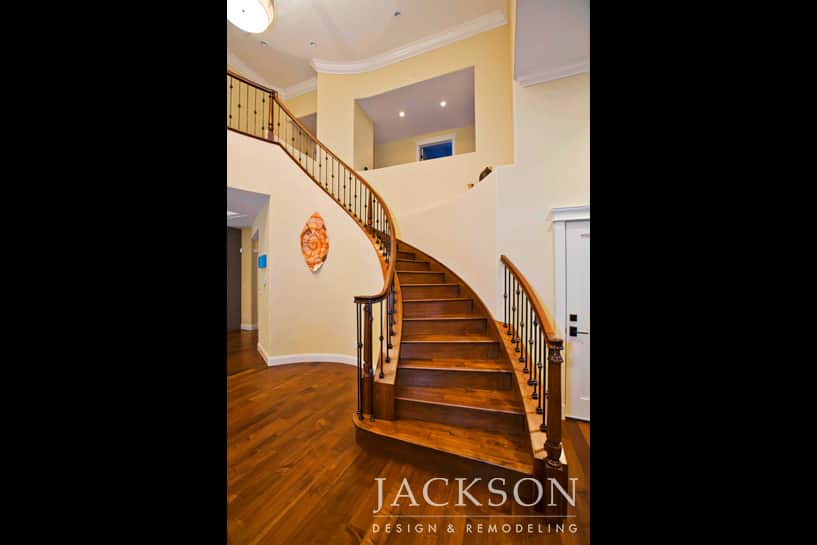 Built With Maple Hardwood, A Custom Designed Wrought Iron Stair Rail And A  Cherry Hand Rail, These Stairs Bring Dramatic Definition To The Large Open  Area ...