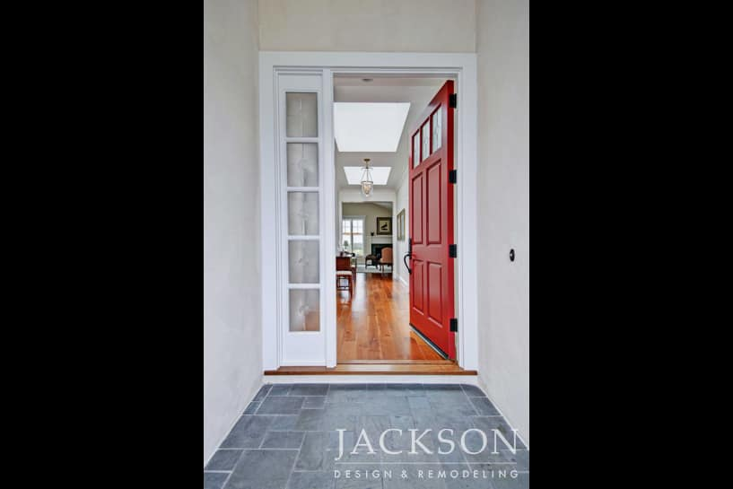 Red front doors have a history of positive symbolism related to welcoming visitors luck protection and good fortune. This entryway welcomes the ... & Front Door Remodeling in San Diego - Jackson Design u0026 Remodeling