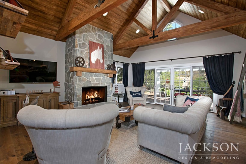 The Living Room In A Modern Farmhouse This Grand Fireplace Was Built To Ceiling Establish Impressive Scale Arbutus Stone With Thick Grout And