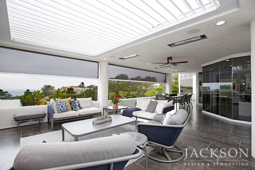 Superbe This Outdoor Living Space Presents The Ultimate Experience In  Indoor/outdoor Living. A Louvered Roof, Glass Side Panels, Recessed Screens  And A Fireplace ...