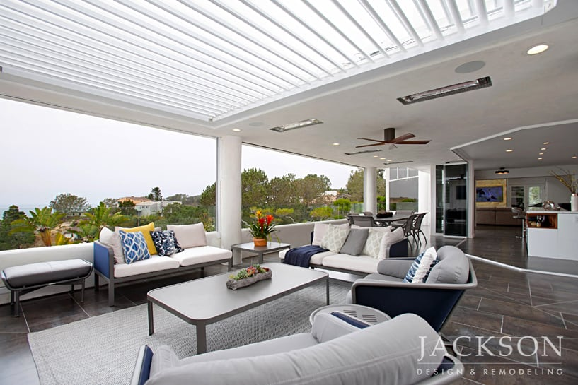 This Outdoor Living Space Presents The Ultimate Experience In  Indoor/outdoor Living. A Louvered Roof, Glass Side Panels, Recessed Screens  And A Fireplace ...
